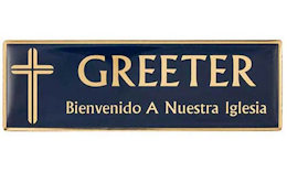 Spanish Insignia magnética Greeter Azul Oro