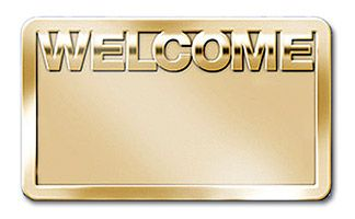 Welcome Badge Brass with Bold Lettering