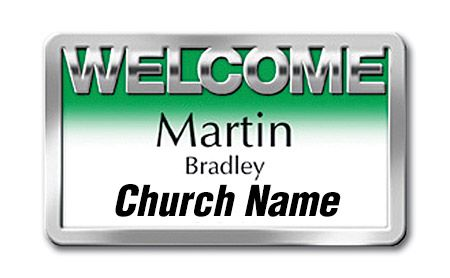 Welcome Greeter Magnetic Badge Silver Bold Lettering