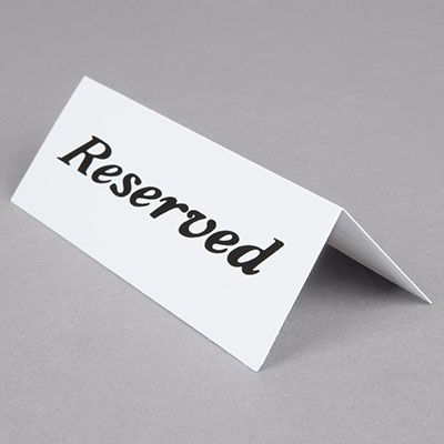 Reserved Table Signs Plastic (Pkg of 12)