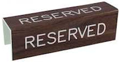 Reserve sign 3 sided Plastic