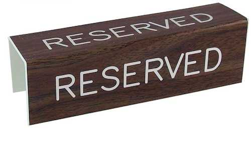 3 Sided Reserved Sign for Pew Seats
