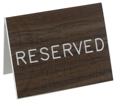 Reserved Table Signs English or Spainish Walnut Grained