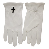 Black Cross White Gloves Sm-X Large