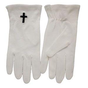 Black Cross White Gloves Sm-X Large