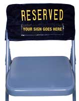 cloth chair reserved signs
