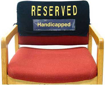 Example of Sign Insert in Chair Cover