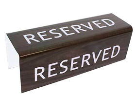 3-Sided Walnut Reserved Pew Sign (Pkg of 2)
