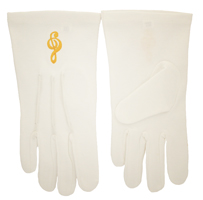 Gold Music Clef White Gloves Large - XXL