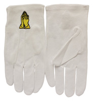 White Formal Church Gloves with Gold Praying Hands