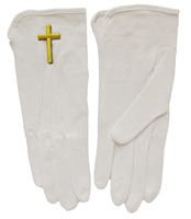 Gold or Silver Cross Formal Gloves White Cotton
