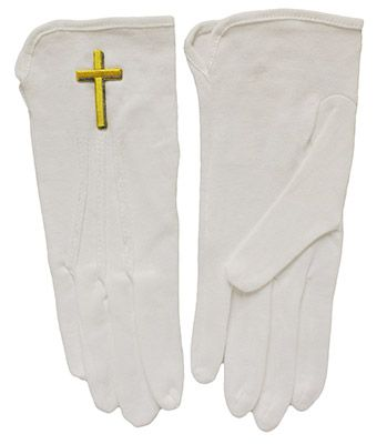 White Gloves Gold Cross Many Sizes