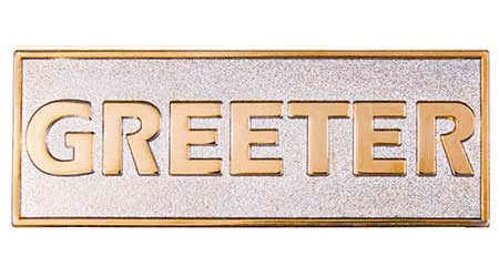 Gold & Silver Greeter  Magnetic Badge
