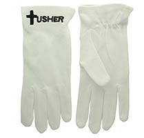 Usher Black Cross White Gloves Adult Sizes