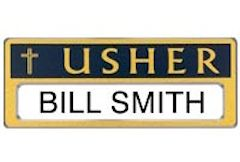 Usher Badge Personalize-able Magnetic Gold Blue