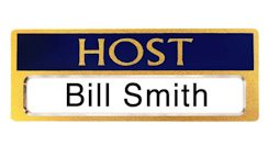 Host Name Badges Blue, Gold Magnetic