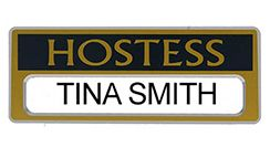 Hostess Changeable Name Badge Gold Magnetic