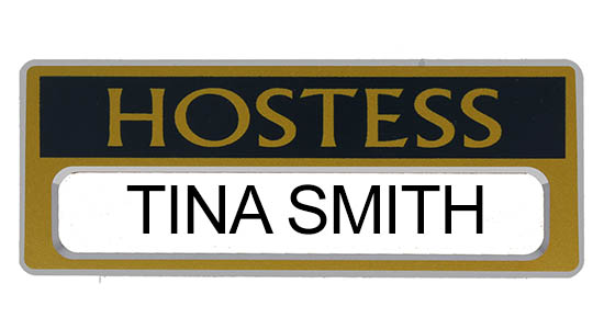 Hostess Magnetic Name Badges Gold and Blue