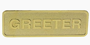 Gold Brass Greeter Magnetic Pin Badge