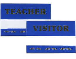 Teacher or Visitor Pin-On Badges
