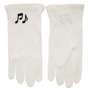 Music Note White Gloves Sm - X Large