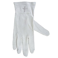 White Communion Gloves with Cross