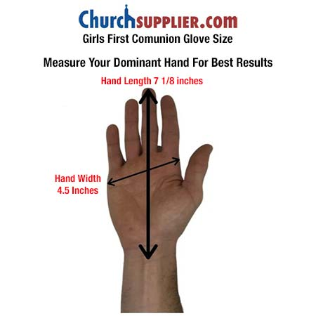 First Communion Formal Youth Girls White Gloves Measuring guide