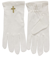 White Gloves With Embroidered Gold Cross
