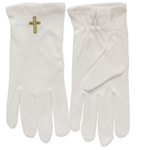 Antique Gold Cross White Gloves in Sizes