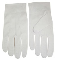 Formal Cotton White Usher Gloves in XS-3X