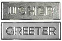 Usher or Greeter Magnetic Badge Silver