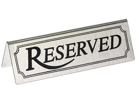 Reserved Table Signs Reuseable Steel