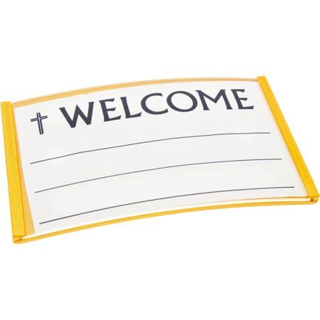 Welcome or Any Title Badge Gold Magnetic Business Card Size