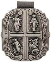 4 Way Catholic Visor Clip Pewter