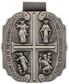 4 Way Catholic Auto Visor Clip Pewter