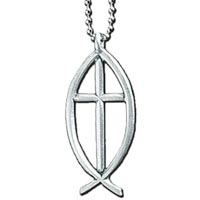 Ichthus Fish wth Cross Auto Mirror Ornament