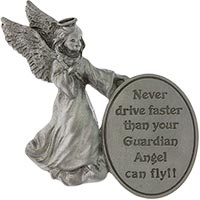 Never Drive Faster Guardian Angel Oval Visor Clip