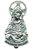 Sacred Heart  of Jesus Visor Clip Pewter