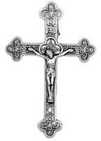Crucifix Cross Visor Clip Pewter