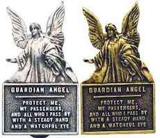 Guardian Angel  Gold or Pewter Visor Clip Protect Me
