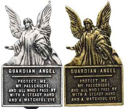 GUARDIAN ANGEL SUN VISOR CLIP Pewter Badge Protect Us