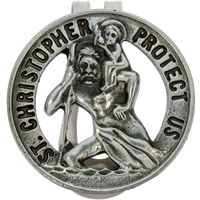 St. Christopher Protect Us Pewter Visor Clip