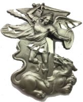 St. Michael Devil Destroyer Visor Clip Pewte