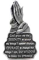 Serenity Prayer Visor Clip - Praying Hands