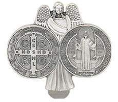 Saint Benedict & Angel Visor Clip
