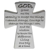 Serenity Prayer Auto Visor Clip on Cross