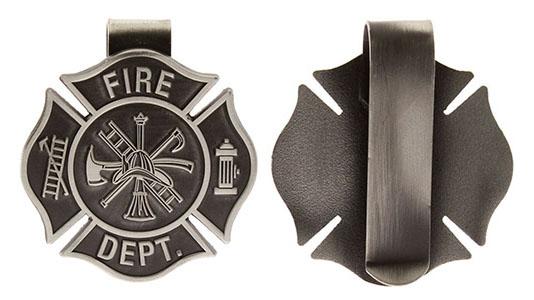 Fire Fighter Visor Clip Cross Pewter Fire Dept.