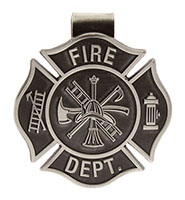 Fire Fighter Visor Clip Cross Pewter Fire Dept.