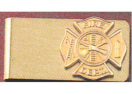 Firefighter Money Clip Gold