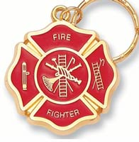 FireFighter Cross Key Chain Gold Red